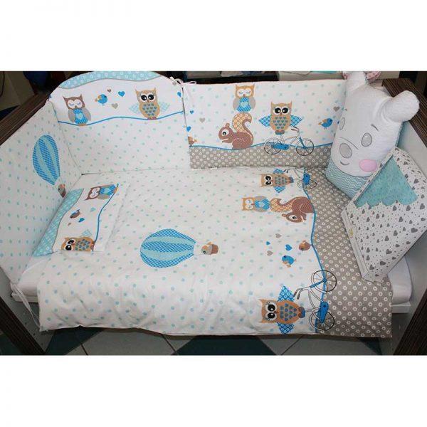 0000991_9-djelna-posteljina-sovice-plave-37-navlaka-za-jastuk-gratisweb